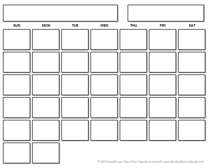Blank Calendar Template - Free Printable Blank Calendars