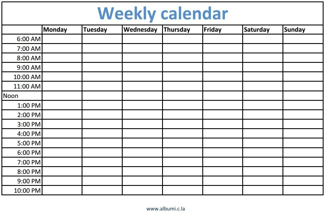 Blank Calendars To Print With Time Slots – Template