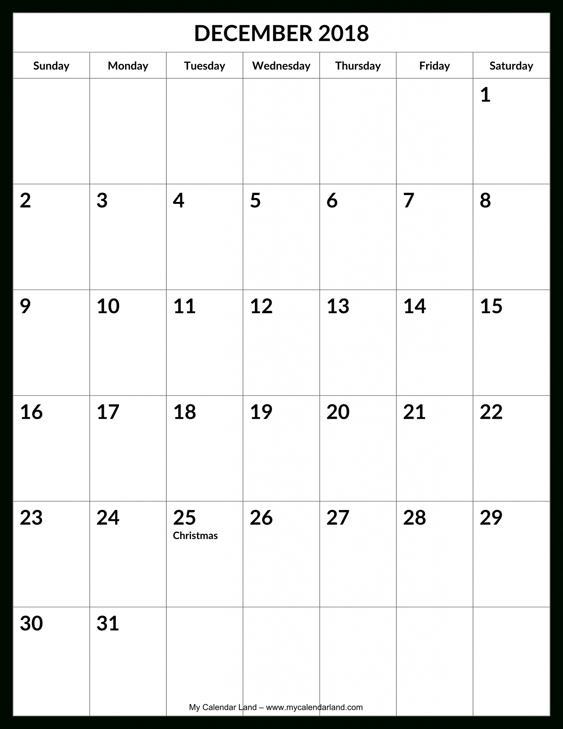 Blank Calender 31 Days | Calendar Template Printable