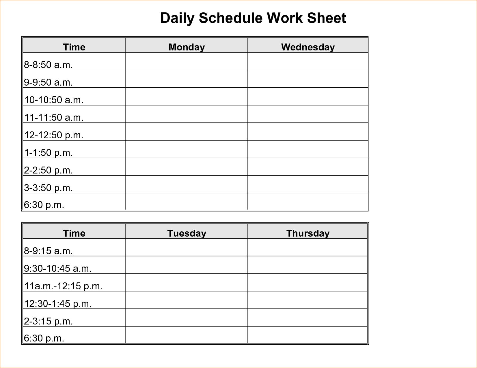 Blank Daily Calendar With Time Slots – Template Calendar