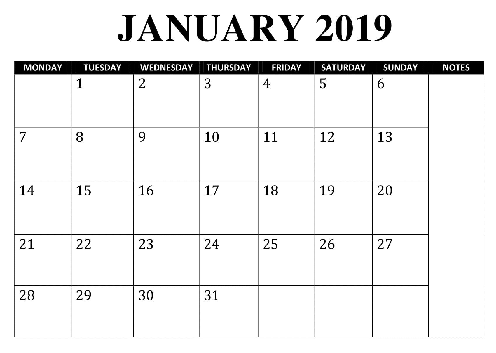 Blank January 2019 Calendar | Calendar Template, 2019