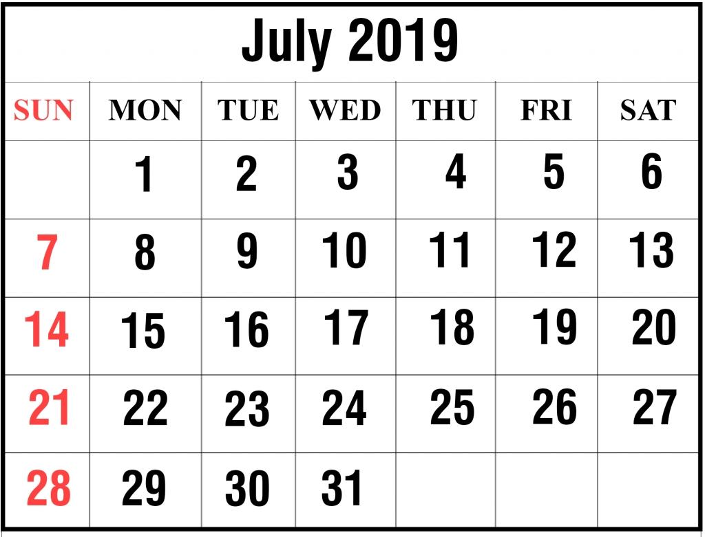 Blank July 2019 Calendar Printable In Pdf, Word, Excel