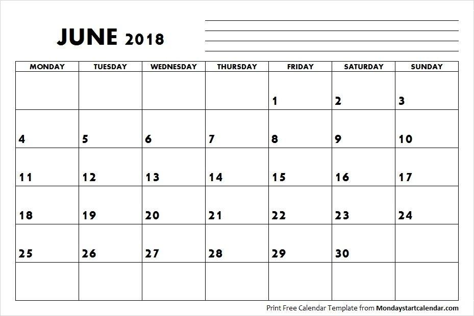 Blank June Calendar 2018 Starting Monday | September