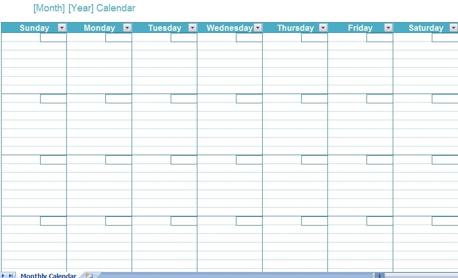 Blank Monthly Calendar Template - My Excel Templates