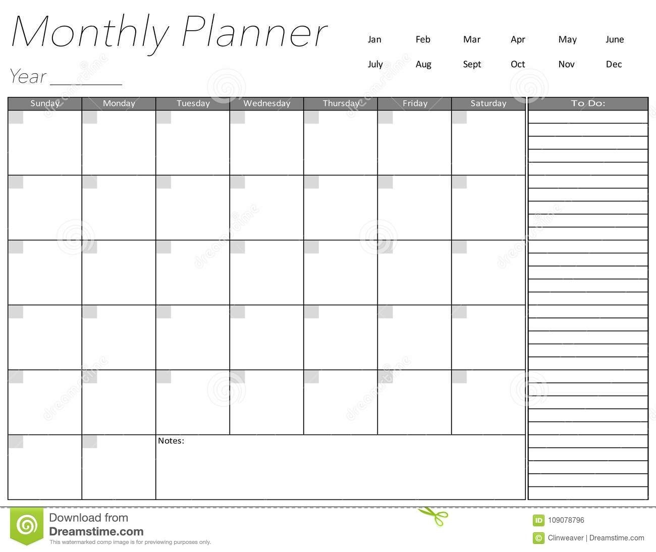 Blank Monthly Planner Page Stock Illustration