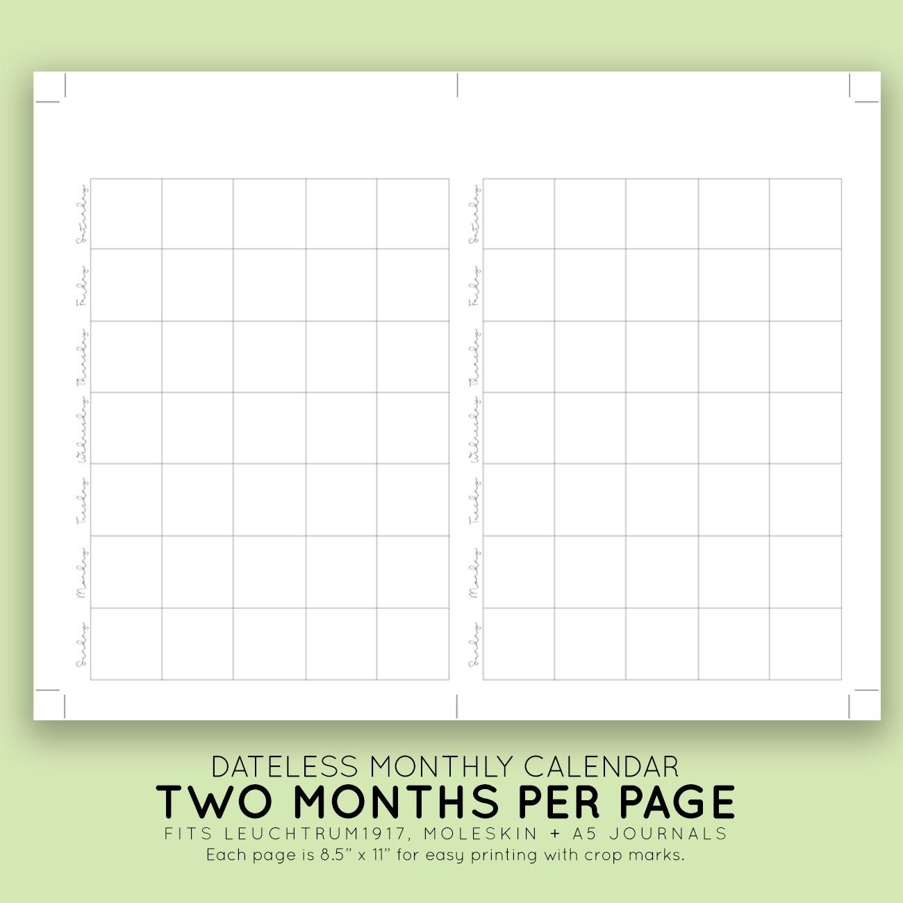 Blank Monthly Printable Calendar | Laura Kinker Designs