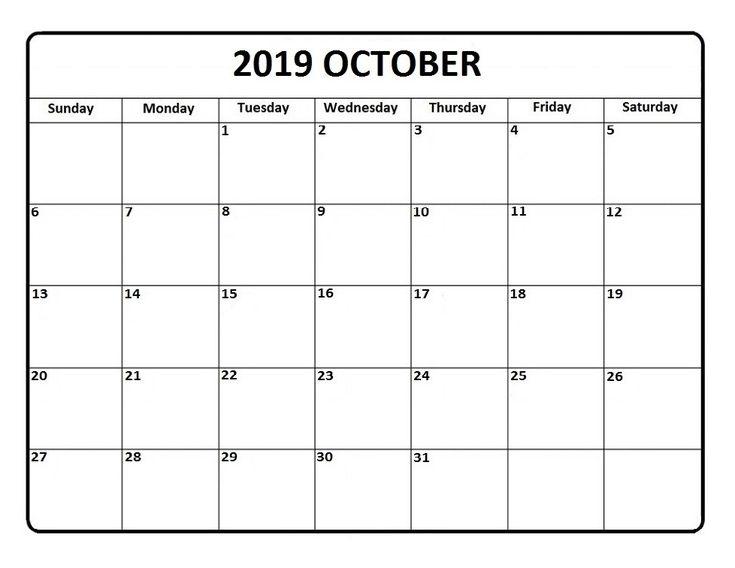 Blank October 2019 Editable Calendar | Printable Calendar