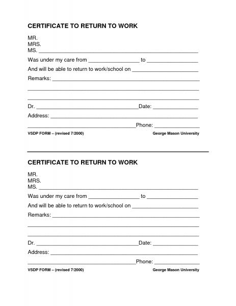 Blank Return To Work Form | Printable Calendar Template 2019