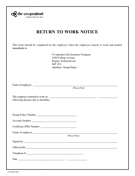 Blank Return To Work Note   Free Download In 2020 | Doctors