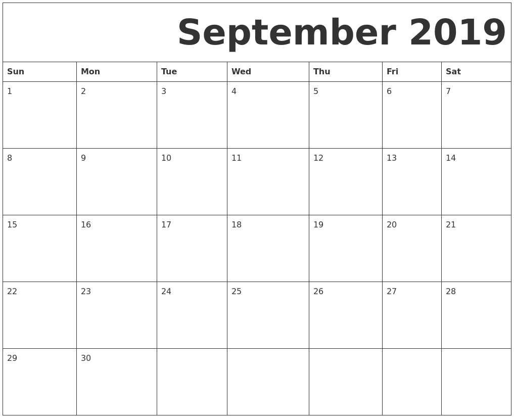 Blank September 2019 Calendar Template In Printable