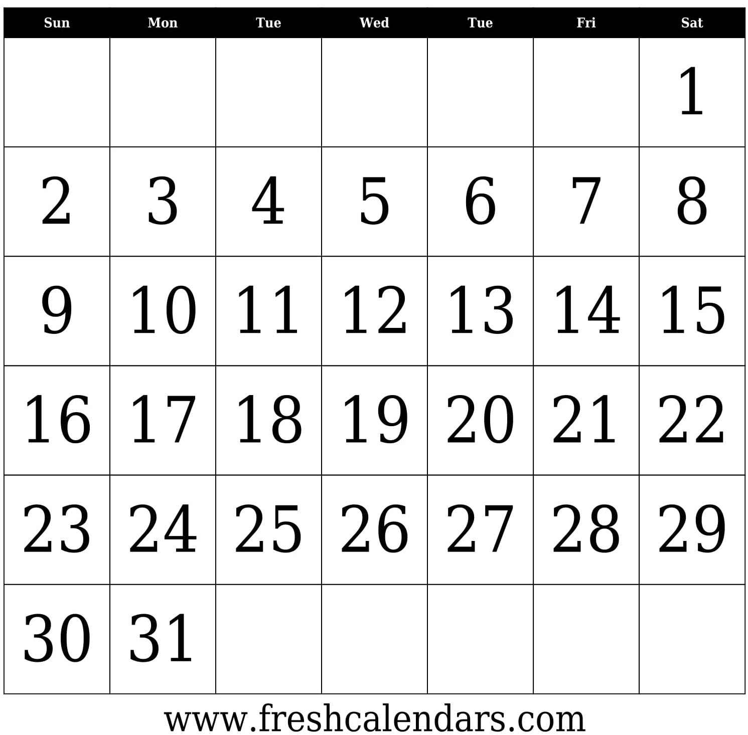Blank Template For 30 Days | Example Calendar Printable