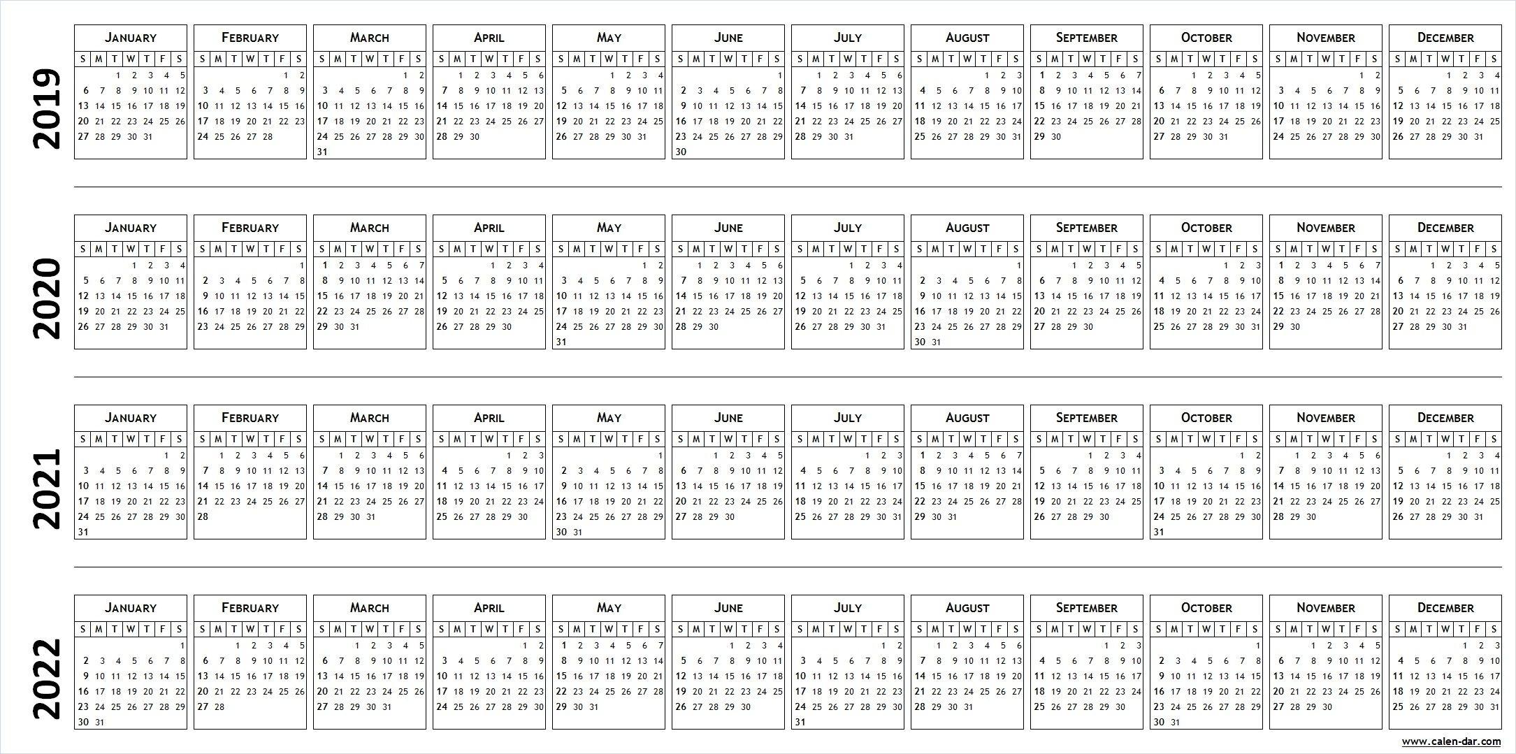 Blank Template For Calendar 2019 2020 2021 2022 | Calendar