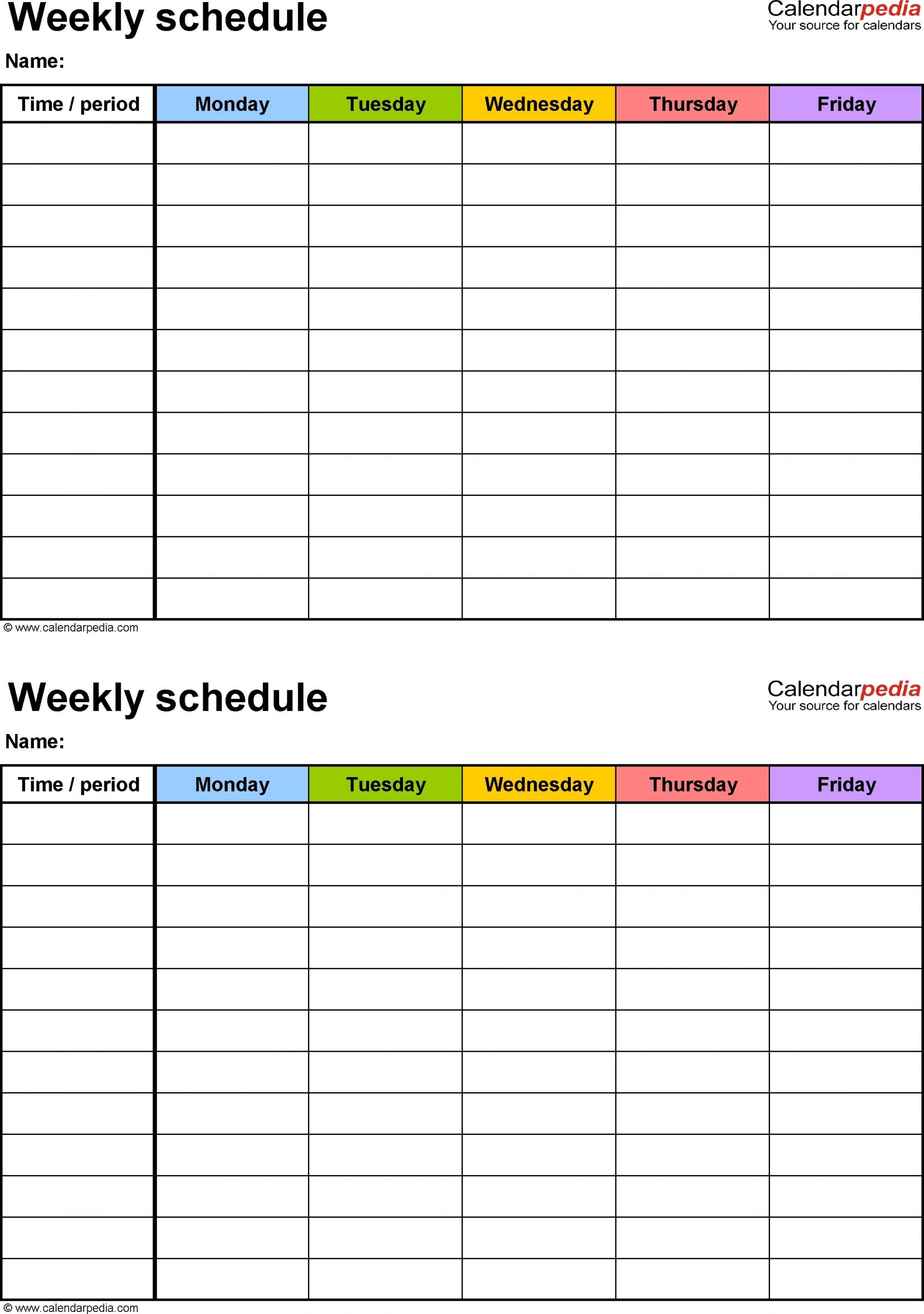 Blank Time Slot Week Schedules | Calendar Template Printable