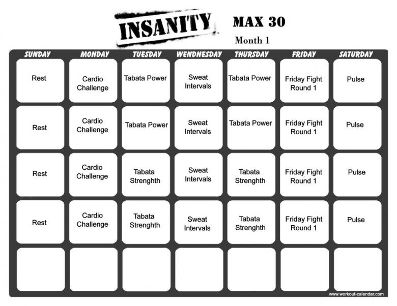 Blank Training Calendar :-Free Calendar Template