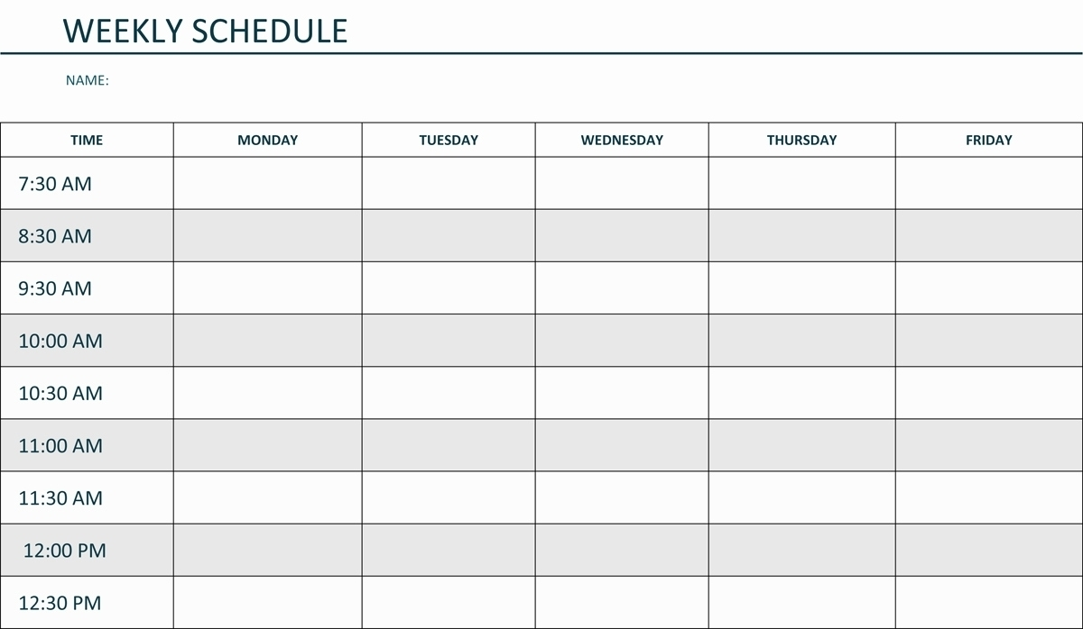Blank Weekly Am/Pm Schedule Template - Calendar