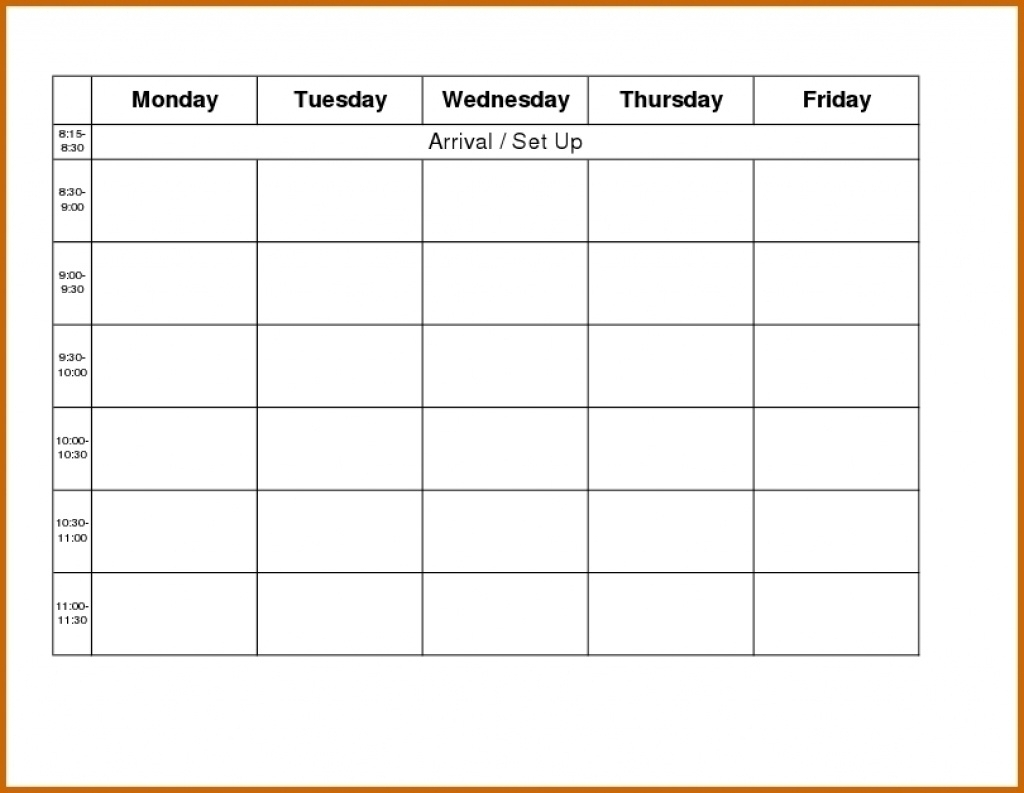 Blank Weekly Calendar Monday To Friday - Calendar