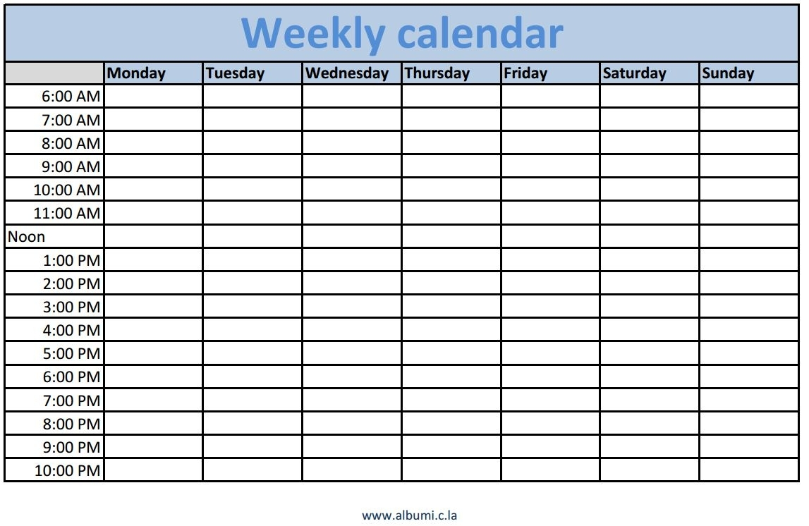 Blank Weekly Schedule Excel - Driverlayer Search Engine