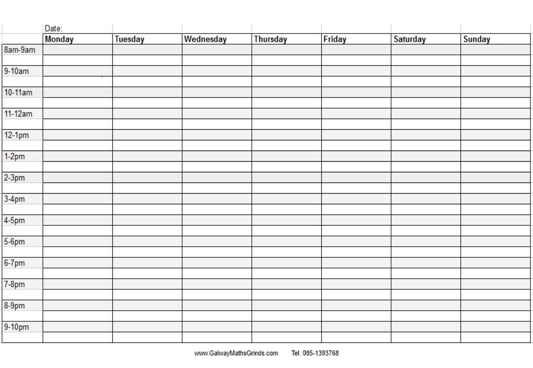 Blank Weekly Schedule With Times - Calendar Inspiration Design
