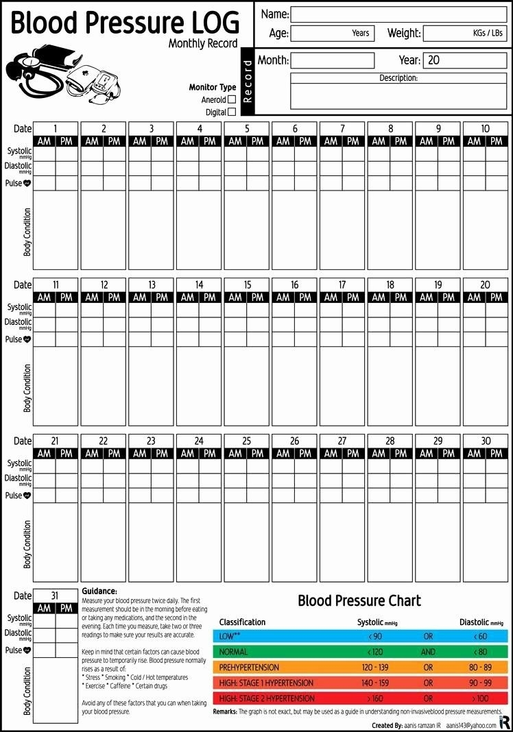 Blood Pressure Record Chart New Blood Pressure Log Monthly
