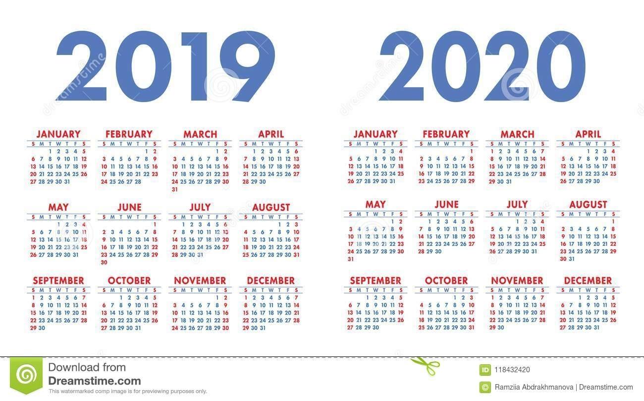 Calendar 2019, 2020 Years. Calender Set. Week Starts On