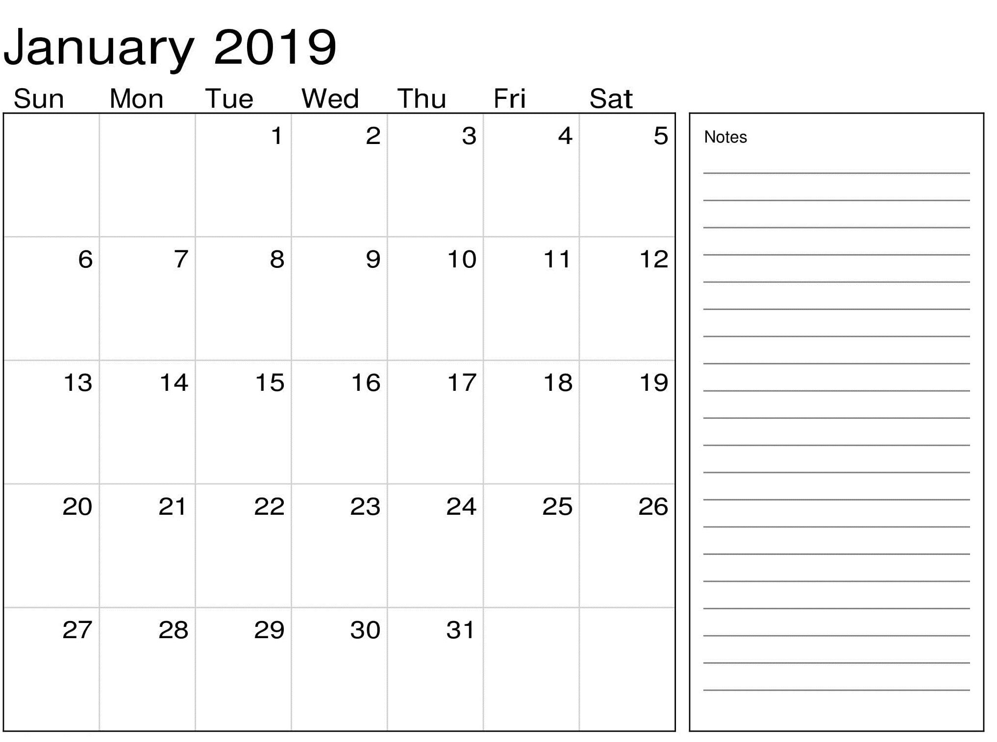 Calendar 2019 January Printable Template | 2019 Calendar