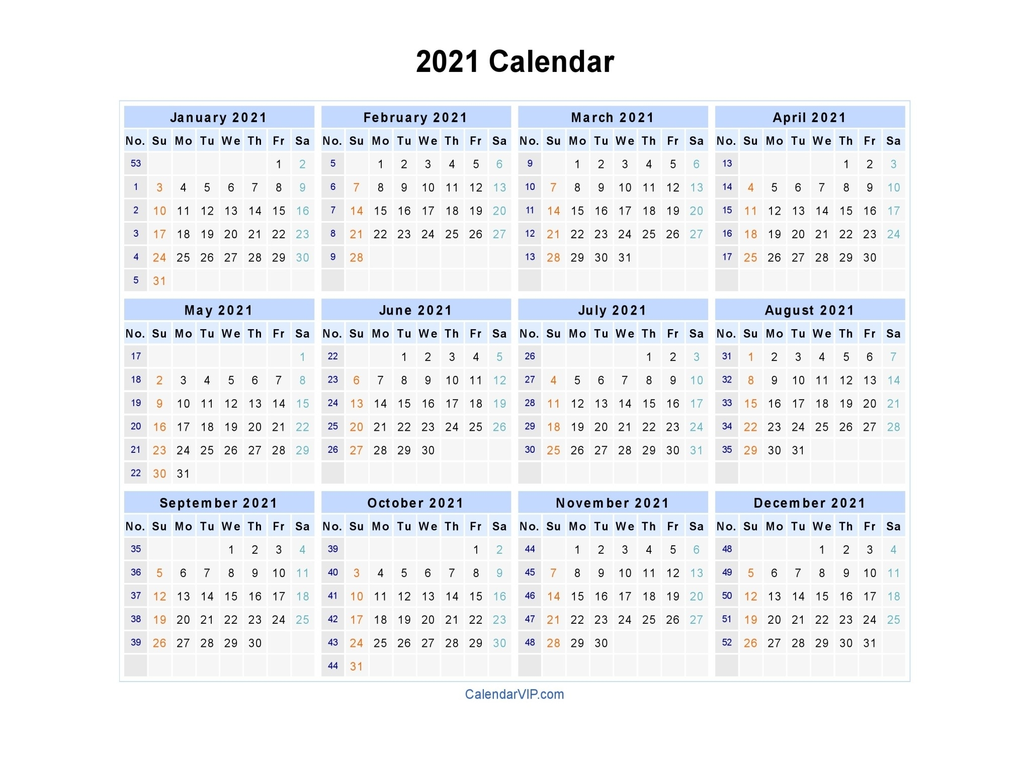 Calendar 2021 Fillable Weekly For Time Saving | Free