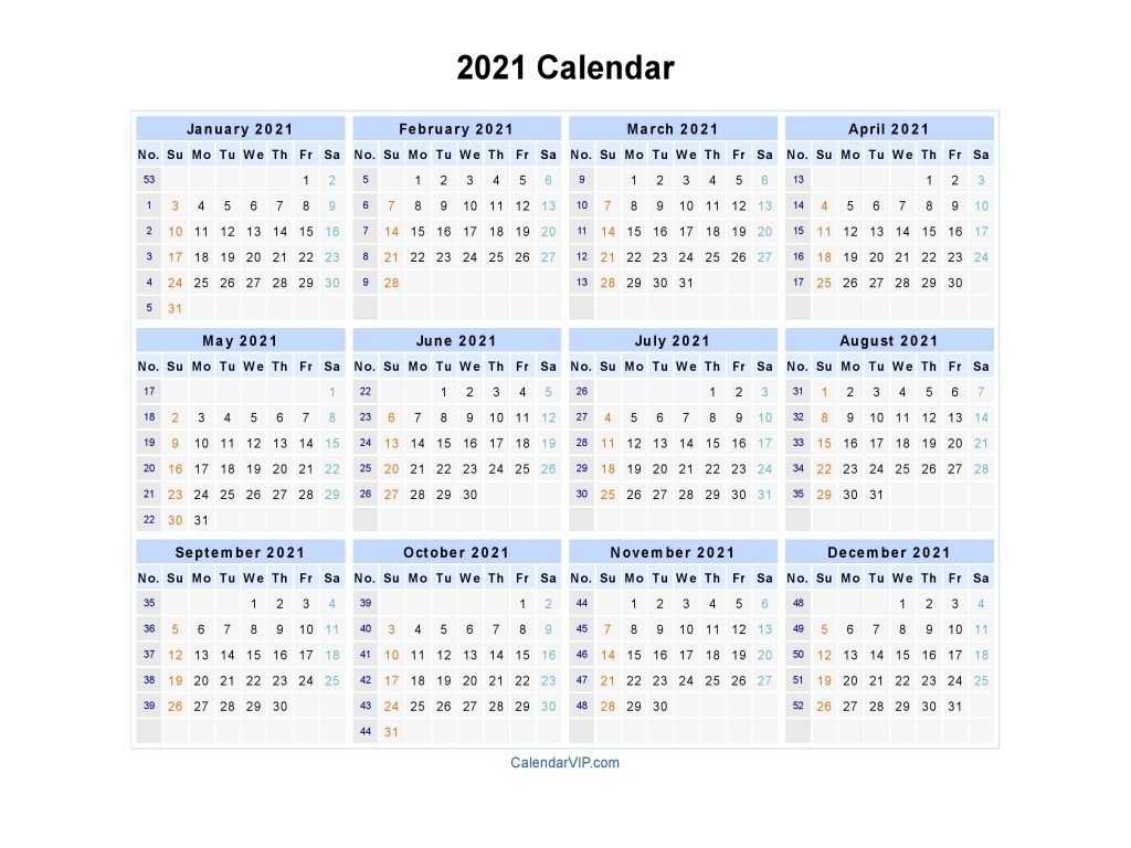Calendar 2021 – Printable Week Calendar