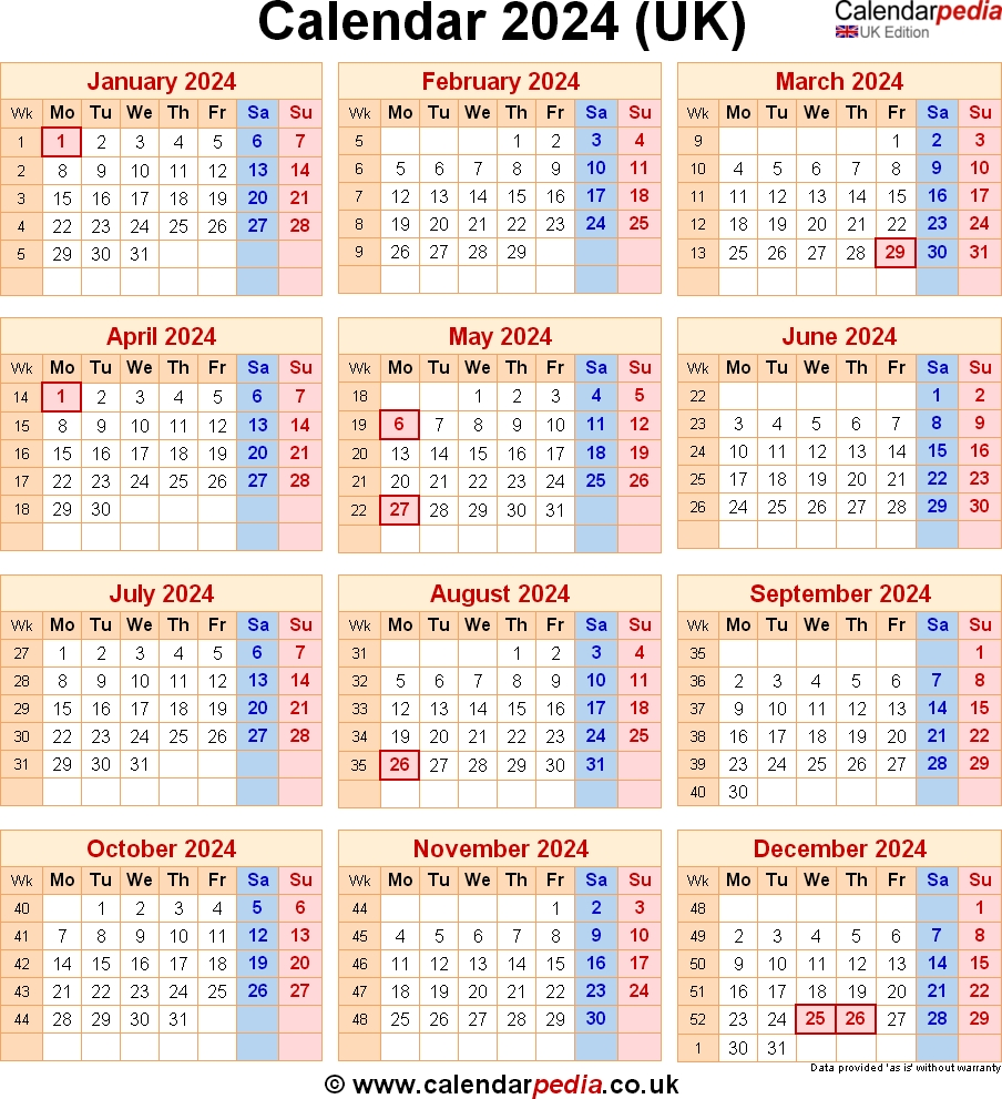 Calendar 2024 Uk With Bank Holidays And Week Numbers
