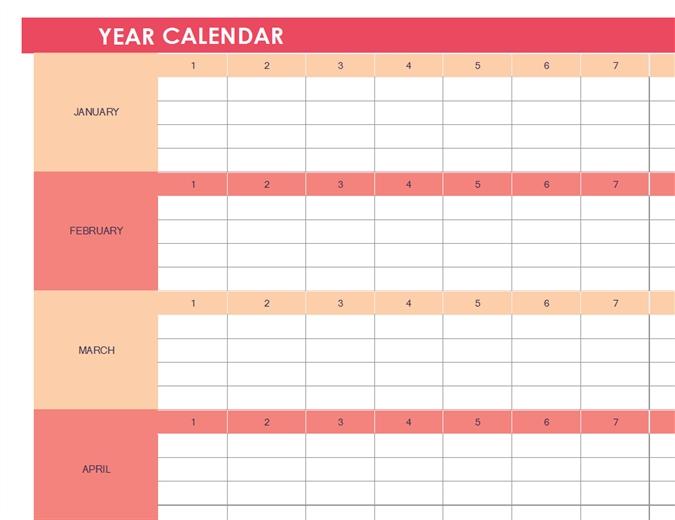 Calendar (Any Year, Horizontal)