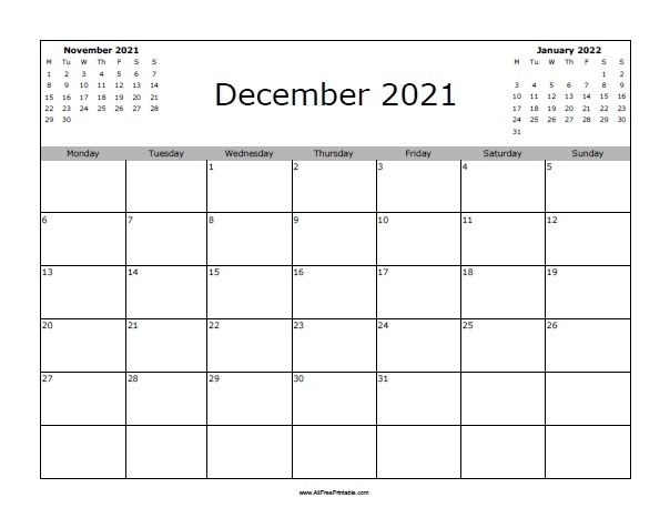 Calendar December 2021 Printable Monday To Sunday