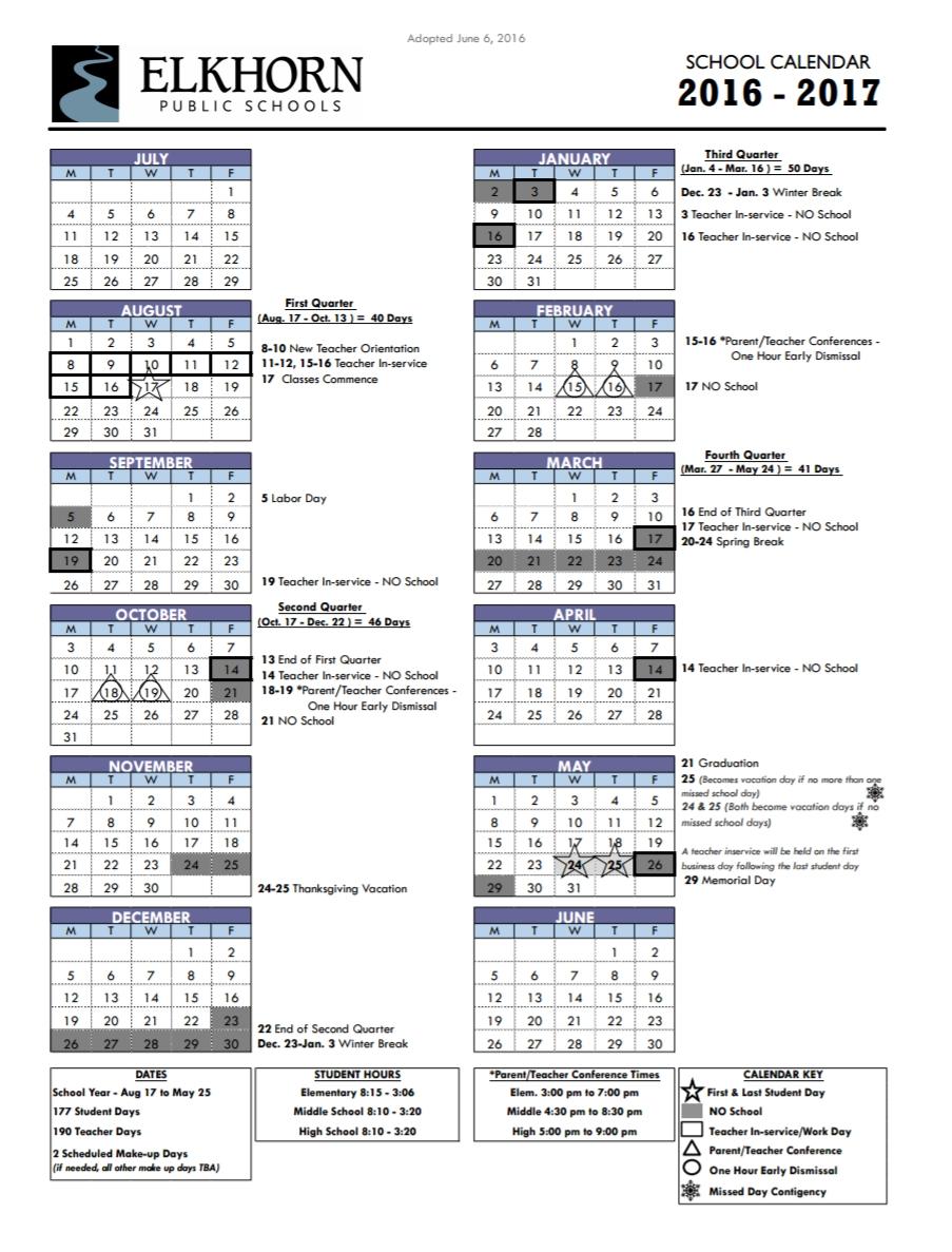 Calendar | Elkhorn Public Schools