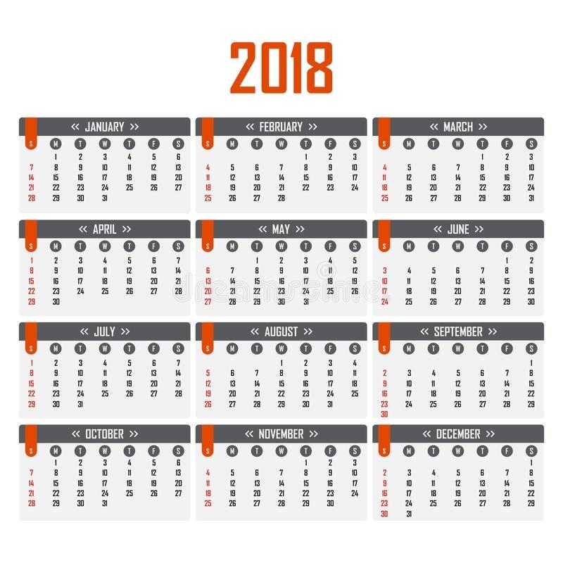 Calendar For 2018. Week Starts On Sunday. Stock Vector