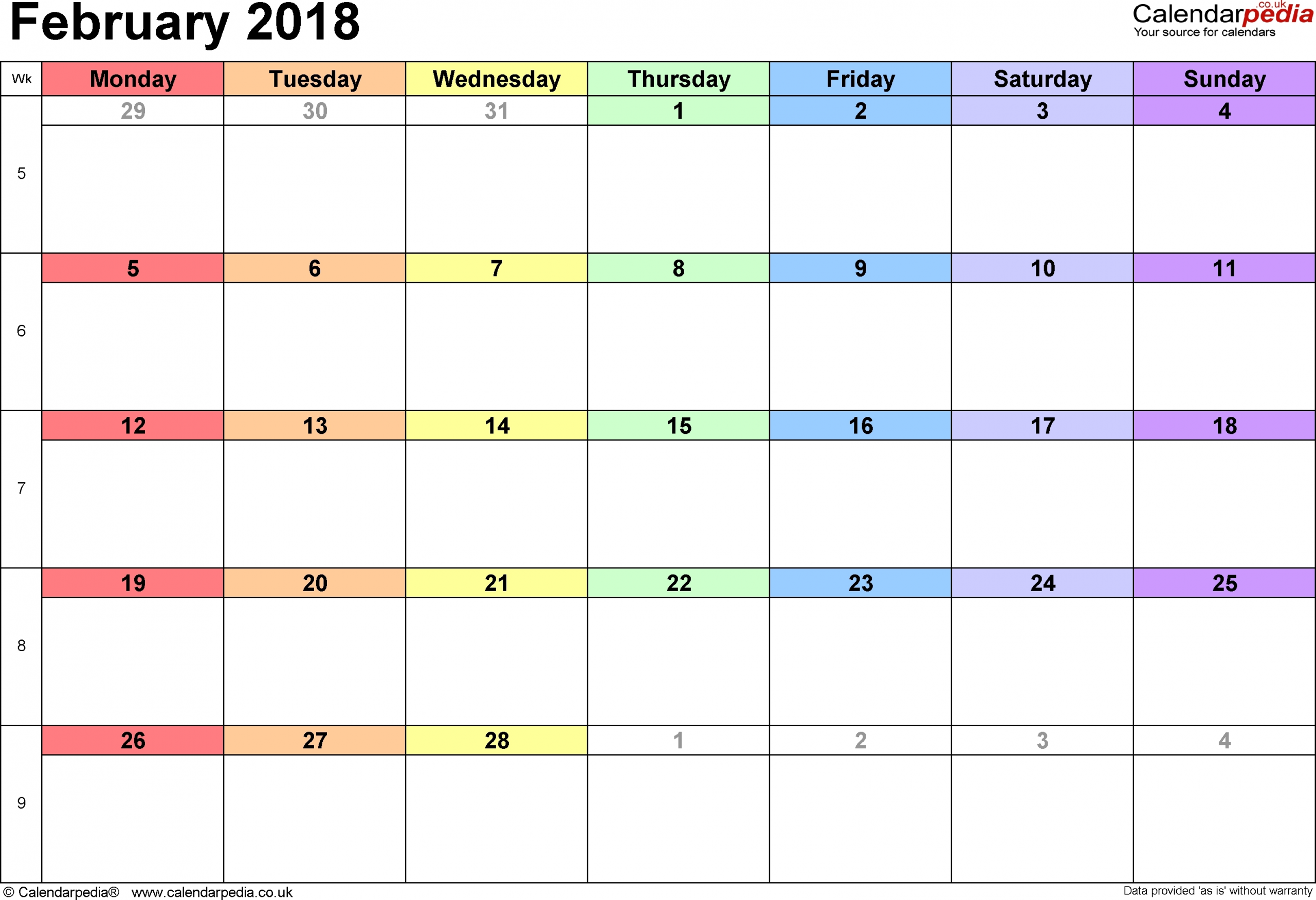 Calendar For February 2018 Uk | Qualads