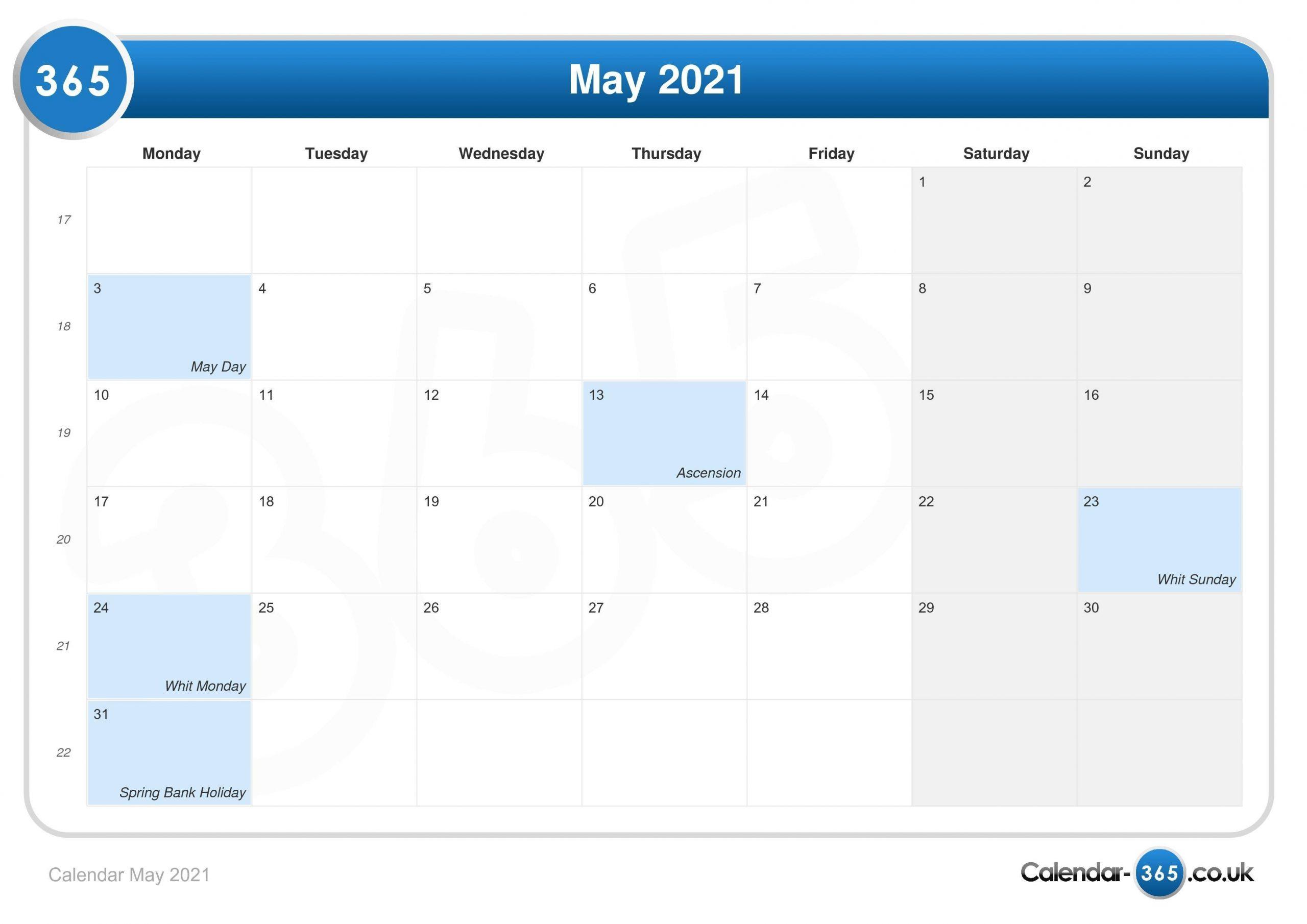 Calendar May 2021