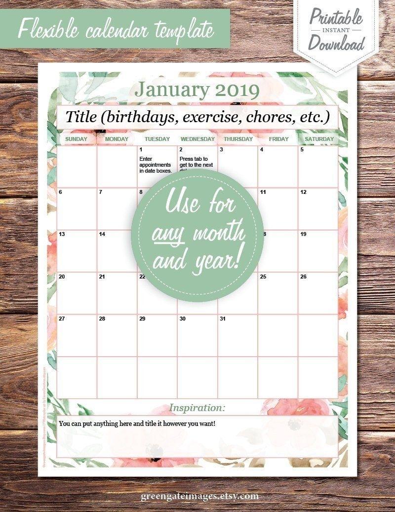 Calendar Template: Editable Calendar Page, Basic, Any