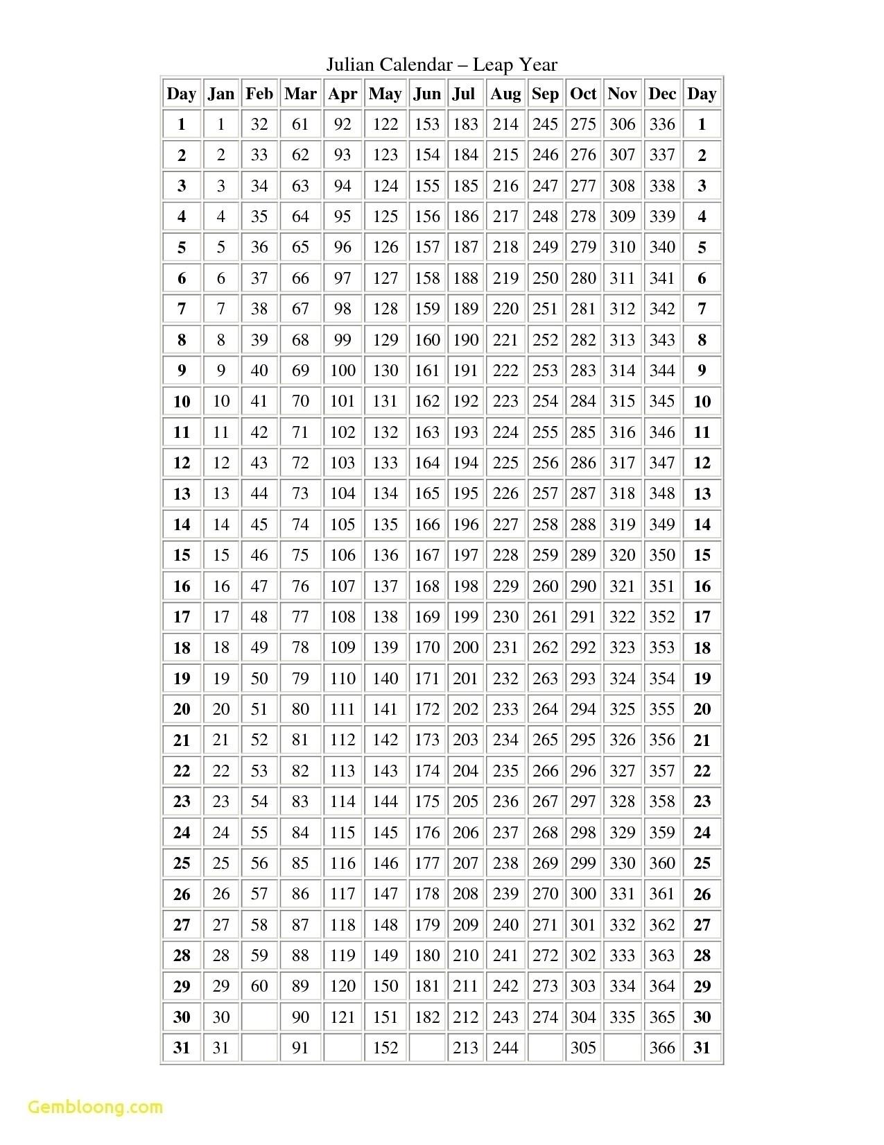 Calendar Year Julian Date | Ten Free Printable Calendar
