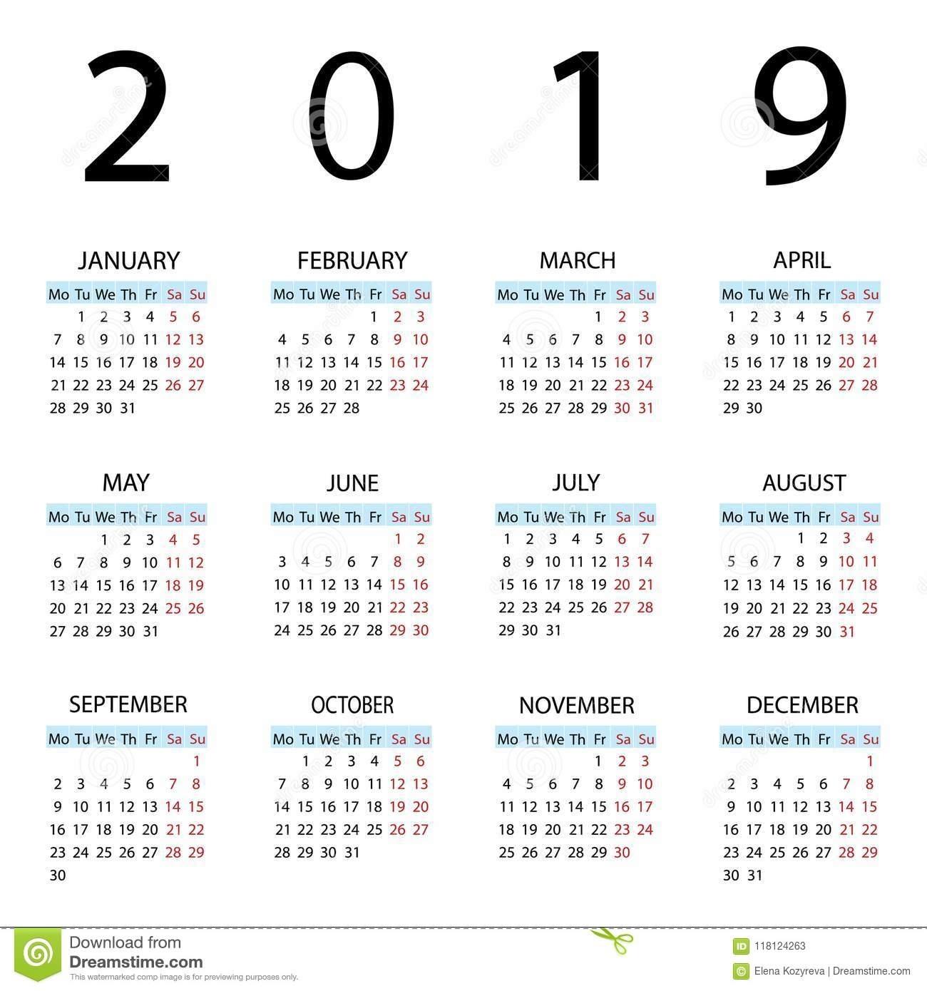 Calendario 2019 Años Comienzo De La Semana Con Lunes