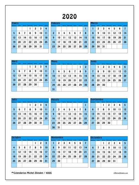 Calendario 2020 Por Semanas Para Imprimir - Calendario 2019