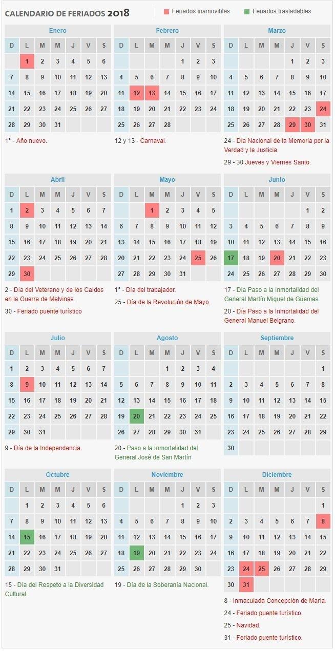 Calendario De Feriados 2018 - Ignacio Online | Calendario