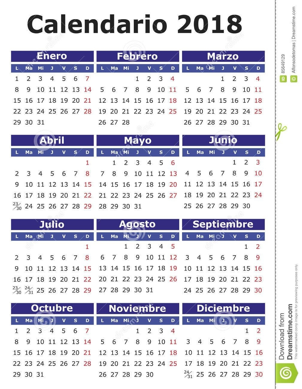 Calendario Español 2018 Ilustración Del Vector - Imagen