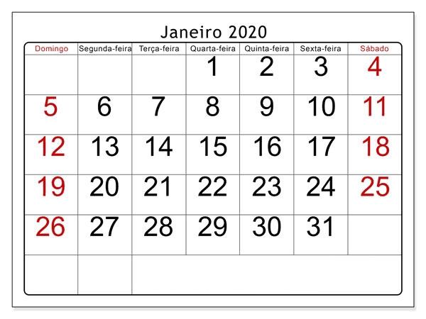Calendário Janeiro 2020 Imprimir Feriados | Nosovia