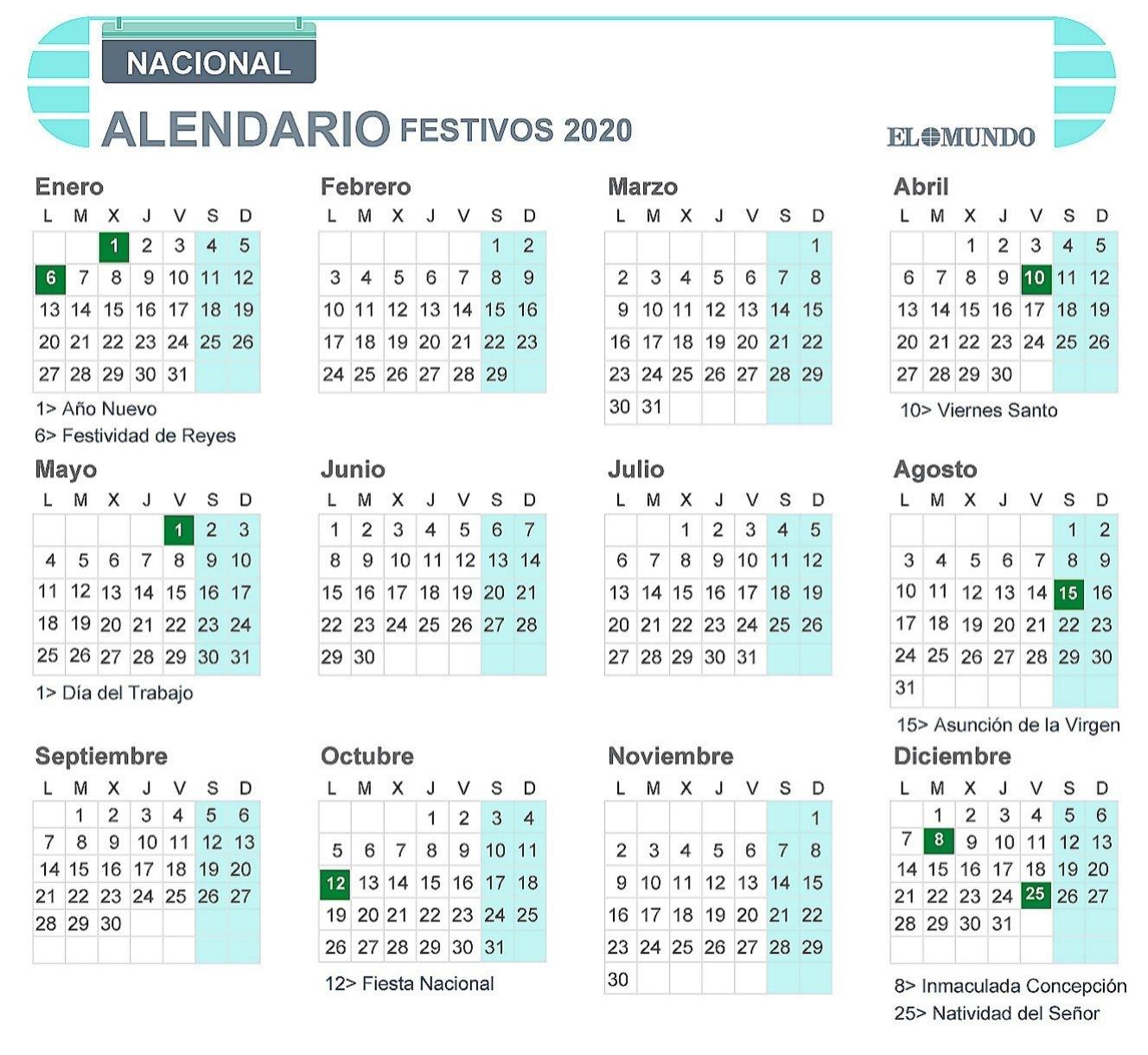 Calendario Laboral De 2020: Días Festivos Y Puentes   Economía