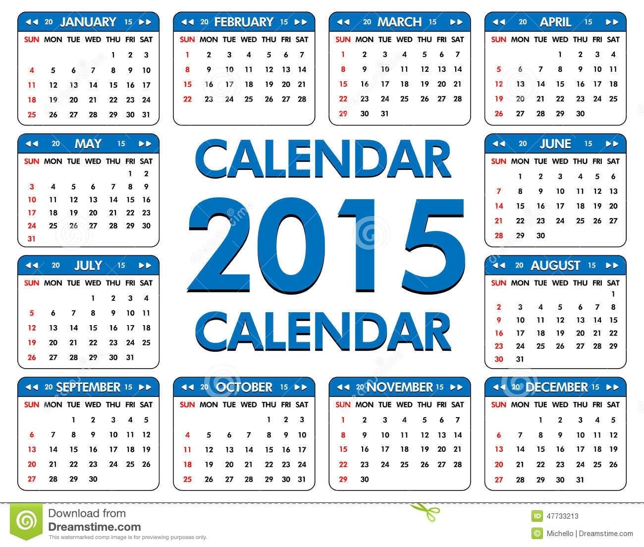 Calendario Por El Año De 2015 Ilustración Del Vector