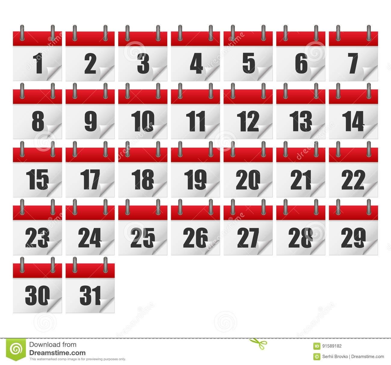 Calendars For All 31 Days Of A Month. Calendar Icons Set