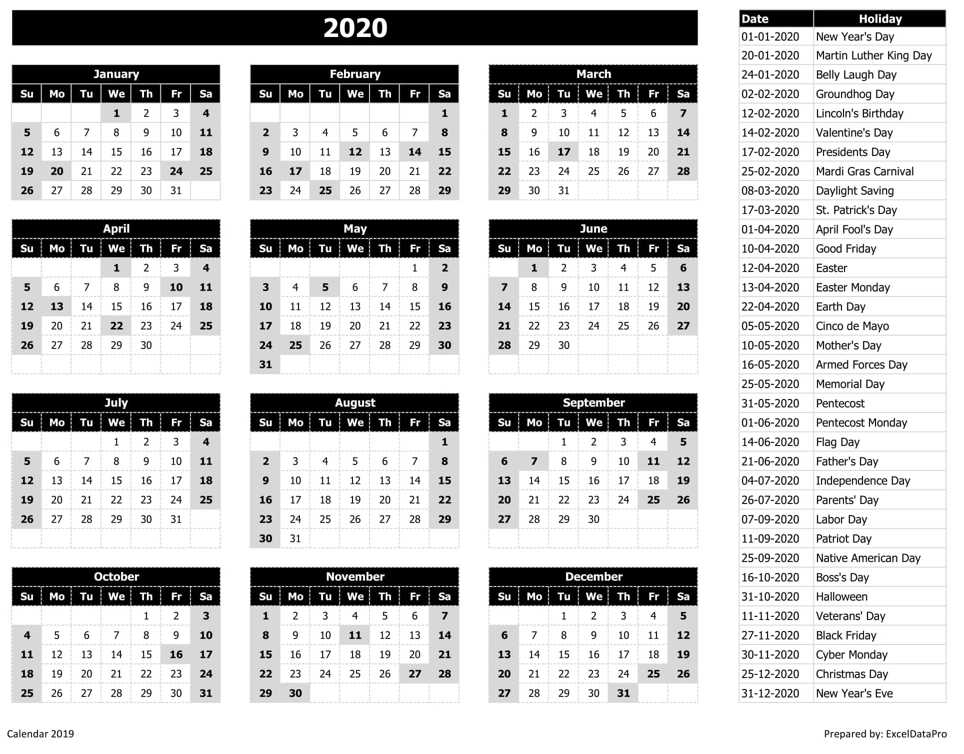 Calendrier Excel 2018