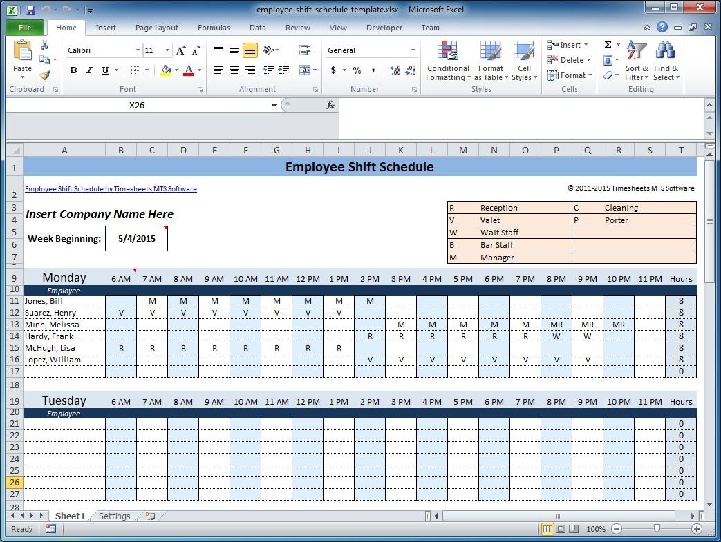 Call Center Scheduling Excel Spreadsheet Regarding Free