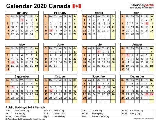 Canada Calendar 2020   Free Printable Word Templates
