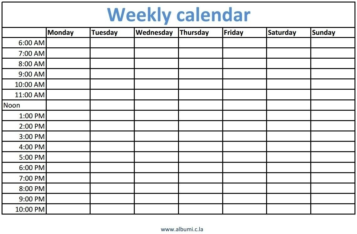 Catch Blank Weekly Calender With Time ⋆ The Best Printable