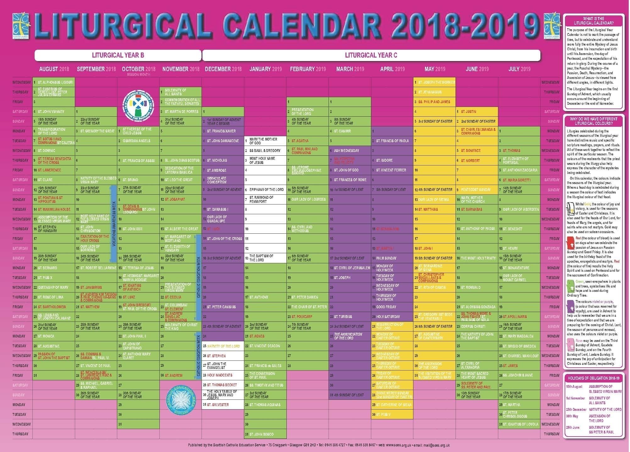 Catholic Liturgical Calendar 2020 Pdf - Calendar