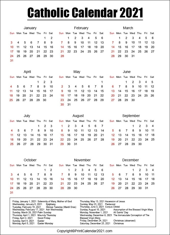 Catholic Liturgical Calendar 2021